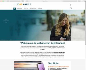 de website van JustConnect ontwikkeld door All About Design